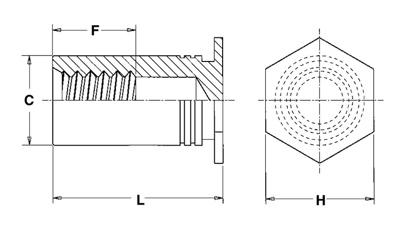 BSO4-M3-18 Metric Type BSO4 Pem Blind Threaded Standoffs for Installation into Stainless Steel