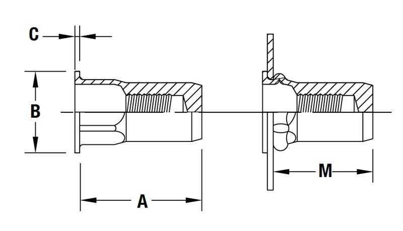 part   aefhs-m6-5 5sbzi  flat head semihex body hex counterbore threaded insert
