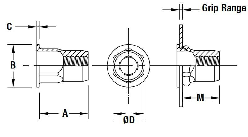 in Poly Bag/ 2,0xd Bohrcraft 46121501615/Boc 46121501615/Thread Insert Technical Drawing Board MF 16/x 1/ /Pack of 50 1/X Volt
