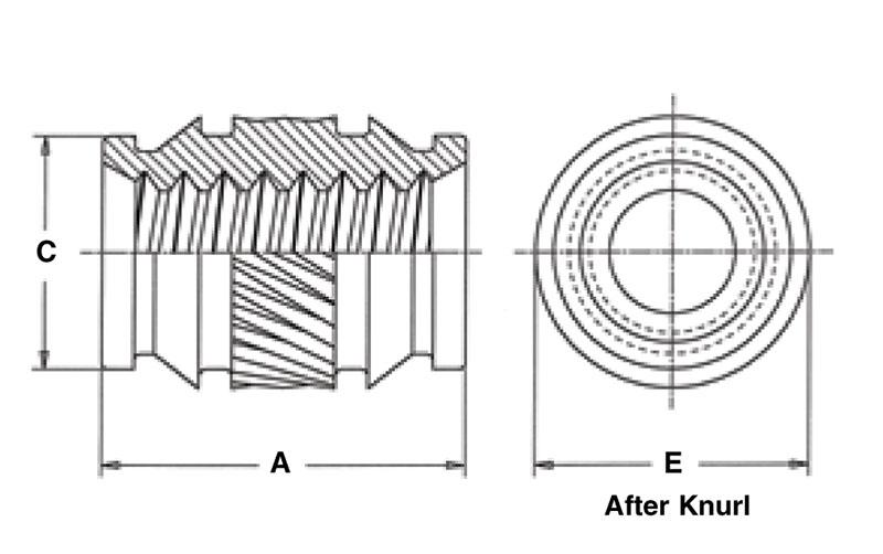 ISB-632 Symmetrical Thru-Threaded Pem Heat Staking Insert Unified