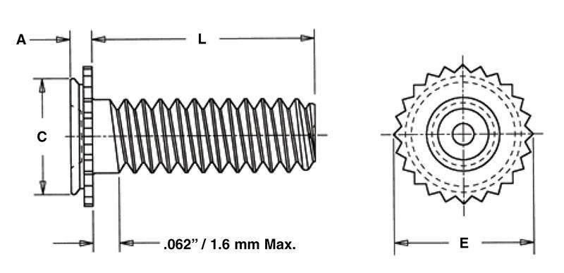 CFHC CHC CFHA Pem Concealed-Head Studs Types CHA CHC-832-10 Unified