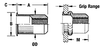 Minimized-Profile Head Threaded Insert - Open End - Metric 2